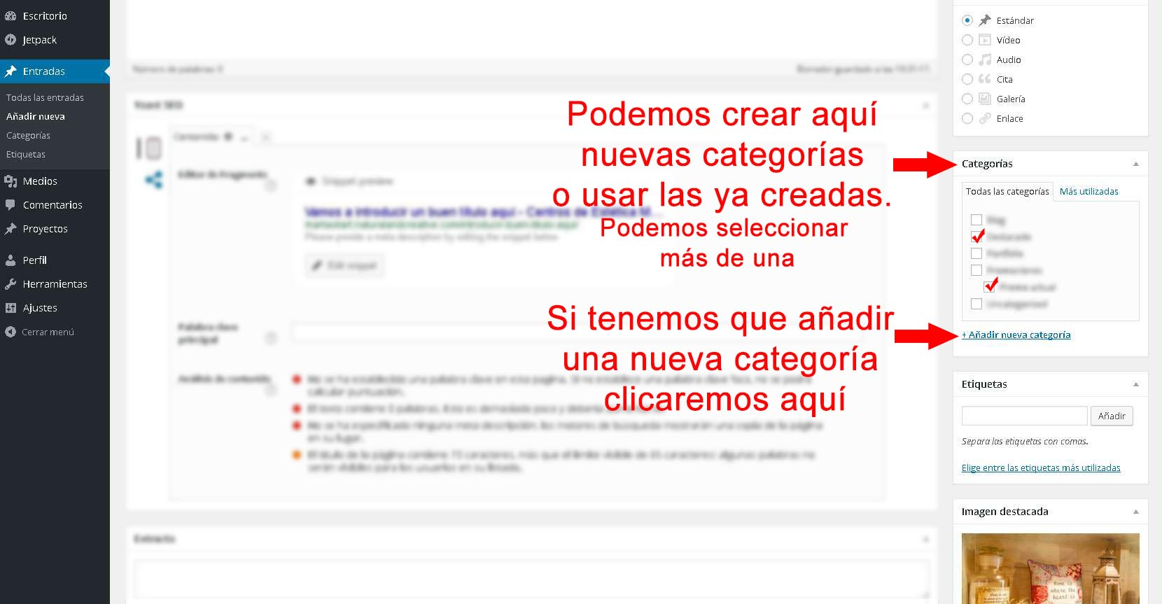 editar blog wordpresss, editar entrada, editar categorias, wordpress, editar etiquetas, editar post, insertar imagen